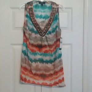 AGB Sheer Festival Tunic Top Water Colors S  NWT